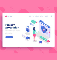 Privacy protection concept office woman interact vector