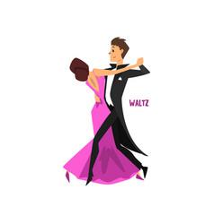 professional dancer couple dancing waltz pair of vector image vector image
