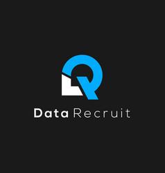 R letter initial data logo design vector