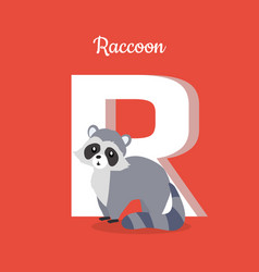 raccoon with letter r isolated abc alphabet vector image