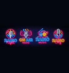 radio neon sign collection radio night vector image