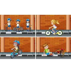 Scenes with kids on bike vector image