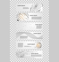 Set 6 banner abstract technology concept white vector
