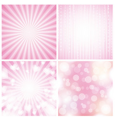 set backgrounds blurred stripes circles hearts vector image
