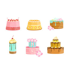 Set cakes decorated with berries and flowers vector