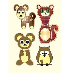 Set of Cute cartoon Teddy bear cat dog owl in flat vector image