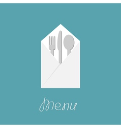 Silver fork knife spoon and napkin Menu cover vector image