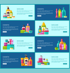 Skincare cosmetics promotional internet posters vector