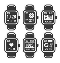 smart watch and fitness tracker band icons set vector image