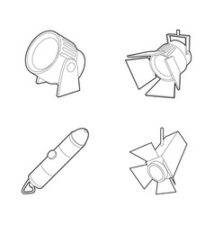 spotlight icon set outline style vector image