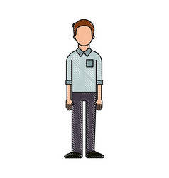 standing man character wearing casual clothes vector image