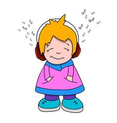 Stock cartoon girl in headphones vector