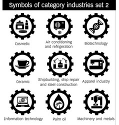 Symbols of category industries set 2 vector