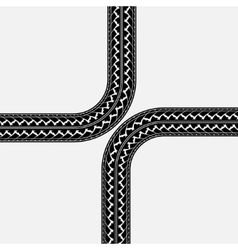 Tire tracks cross vector