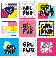 Typography colorful slogan girl power text vector