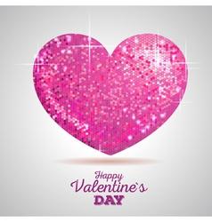 Valentine sparkle pink love heart vector image