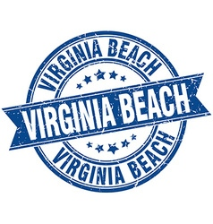 Virginia Beach blue round grunge vintage ribbon vector