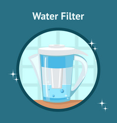 Water filter jug pitcher poster with text vector