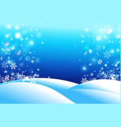 winter beautiful background snow and snowflakes vector image