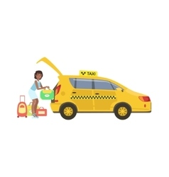 Woman Putting Her Luggage In The Trunk Of Yellow vector