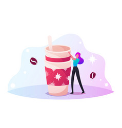 woman stand at paper disposable mug with hot drink vector image