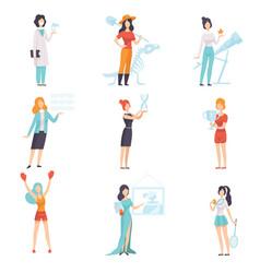 Women different professions set achievements vector