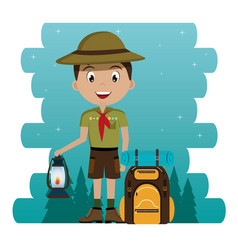 Young scout in the camping zone scene vector