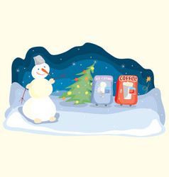 hot and cold merry winter evenings vector image vector image