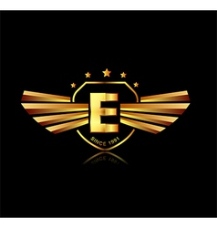 Letter E winged crests logo Alphabet logotype vector image vector image