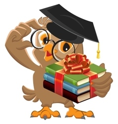 Owl teacher holding gift book Book is best gift vector image