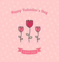rose flowers on pink backdrop vector image vector image