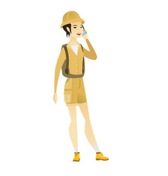 Traveler talking on a mobile phone vector