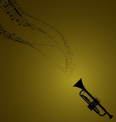 Trumpet with Musical Symbols vector image vector image