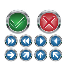 check mark and navigation buttons vector image