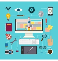 Flat design concept of creative process vector image