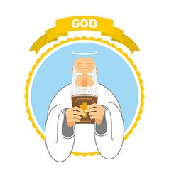 God and Holy Bible Good Grandpa keeps Holy Book vector image vector image
