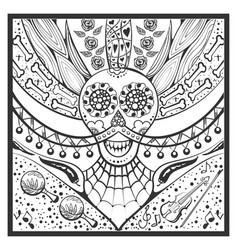 Mexican zentangle day of dead dia de muertos vector