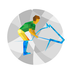 sportsman and horse with abstract patterns vector image