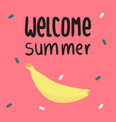 welcome summer banana pink background image vector image vector image