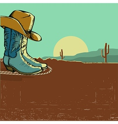 western image with desert landscape vector image