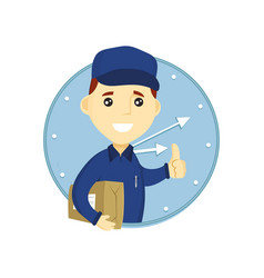 young delivery man in blue uniform vector image