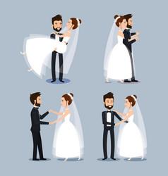 Bride and groom set wedding couples romantic vector