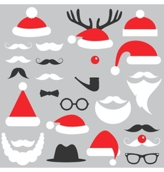 Santa Claus hats beard and mustache set vector image vector image