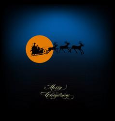 santa sleigh of deers silhouette vector image vector image