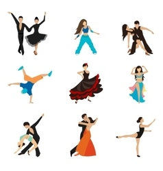 Dancing styles flat icons set vector image
