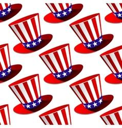 Patriotic American top hat seamless pattern vector image
