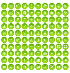 100 beach icons set green circle vector