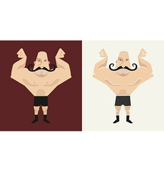 2 bald mustached athletes in different styles vector