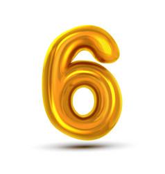 6 six number golden yellow metal letter vector