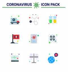9 flat color coronavirus disease and prevention vector image